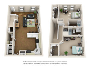 Floor plan of a 2 bed, 2.5 bath student apartment