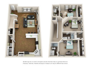Floor plan of a 3 bed, 3.5 bath student apartment